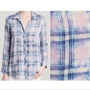 Anthro Cloth & Stone bleached plaid buttondown top